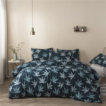 Maple Leaf Print Cover Set Pinch Pleat Brief Bedding Sets Comfort Cover Pillow Cases