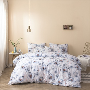 Flower Print Cover Set Pinch Pleat Brief Bedding Sets Comfort Cover Pillow Cases