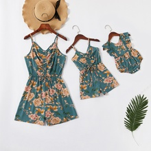 Floral Print Sling Rompers for Mommy-girl-baby