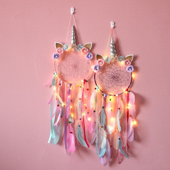 Cute Colored Unicorn Dream Catchers Baby Kids Girls Nursery Room Decorations Hanging Dreamcatcher Including LED Light
