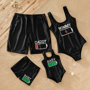 Family Battery Energy Print Matching Swimsuits