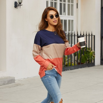 Round collar Color Block Color block long sleeve normal Pullover