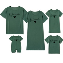 Bless Letter Print Dark Green Series Family Matching Sets