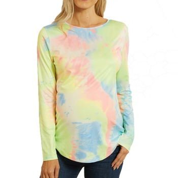 Maternity Round collar Tie dye full print Multi-color T-shirt