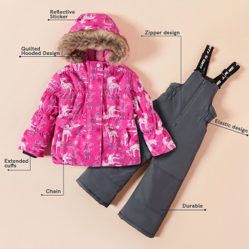Toddler Unicorn Snowsuit Windproof Waterproof Hooded Quilted Jacket and Adjustable Snow Bib