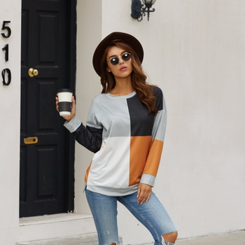 Round collar Color Block Yellow Color block long sleeve normal Pullover