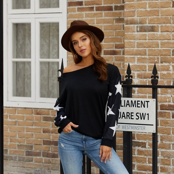 Round collar Stars Black Positioning print long sleeve casual Pullovers1