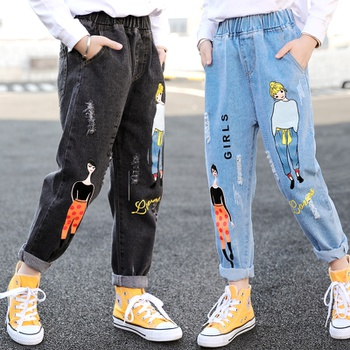 Fashionable Cartoon Girls Letter Print Denim Elasticized Jeans