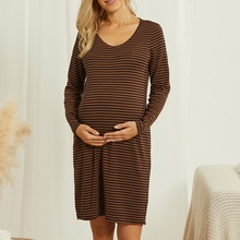 Maternity Round collar Stripes Plain Coffee Short H Long-sleeve Dress