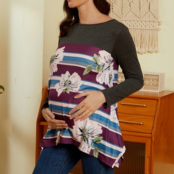 Maternity Round collar Floral Positioning print Dark Grey T-shirt