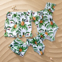 Allover Tropical Pineapple Printed Family Matching Swimsuits