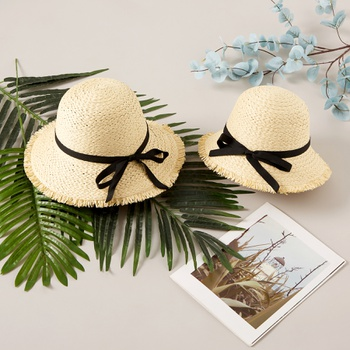 Mommy and Me Bowknot Beach Straw Hats