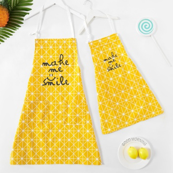 Smile Letter Print Yellow Aprons