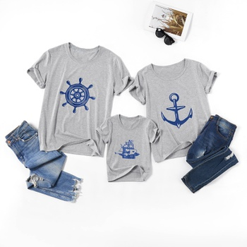 Boat Series Print Pattern Family Matching Tops