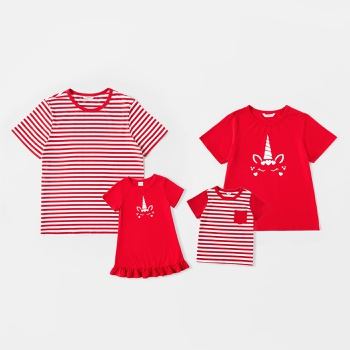 Mosaic Family Matching Unicorn Stripe Print Red Series Sets