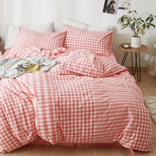 4PCS Plaid Cover Set Pinch Pleat Brief Bedding Sets Comfort Cover Pillow Cases