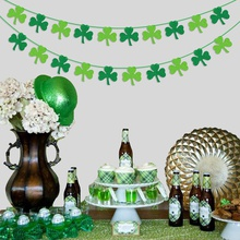 Clovers St.Patricks Day Green Shamrock Paper Banners Birthday Party Hanging Decoration