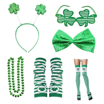 Clovers St.Patricks Day Suit Green Shamrock Hairband Necklace Glasses Gloves Bowknot Decoration