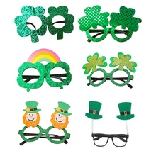 Clovers St.Patricks Day Green Shamrock Glasses Decoration