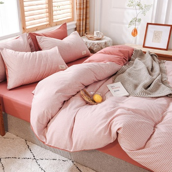 4-PCS Pinstriped Cover Set Bedding Sets Comfort Cover Pillow Cases
