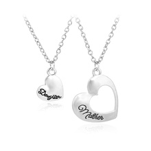 Hollow Love Heart With Letters Mother Daughter Pendant Necklace Mother's Day Gift