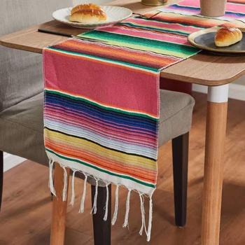 Mexican Style Tablecloth with Tassel Rainbow Table Runner Woven Handmade Striped Table Cover Picnic Mat Boho Beach Blanket