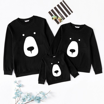 Animal Bear Pattern Black Family Matching Cotton Sweatshirts