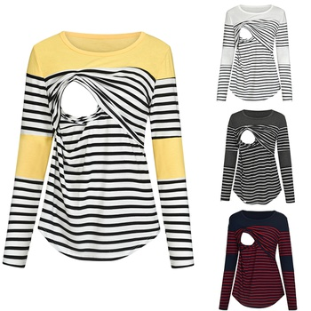 Pretty Striped Long-sleeve Nursing Top
