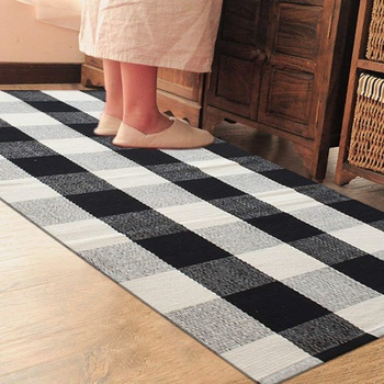 Cotton Linen Checkered Black and White Checkered Floor Mat Door Mat Kitchen Bathroom Outdoor Porch Laundry Woven Carpet