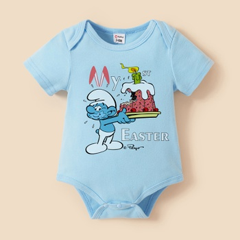 Smurfs Baby Boy My First Easter 100% Cotton Romper