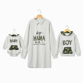 Mommy and Me 100% Cotton Letter Casual Hoodie Dresses