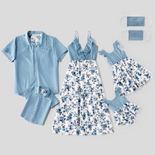 Mosaic 100% Cotton Floral Print Family Matching Blue Sets