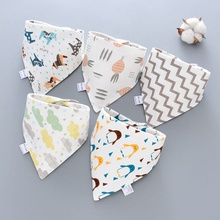 5PCS Baby Bibs Double Layer Cute Cotton Infant Saliva Bibs Cute Baby Towel Infant Stuff