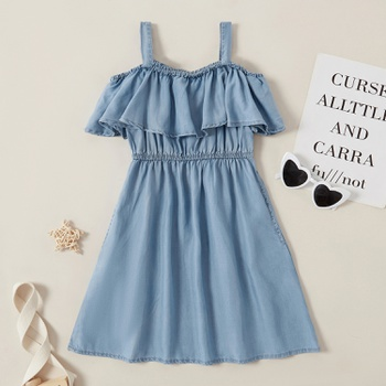 Kids Girl Denim Ruffled Off Shoulder Dress