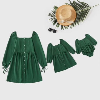 100% Cotton Solid Color Long-sleeve Matching Green Mini Dresses