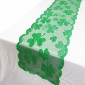 St. Patrick's Day Flat Back Green Shamrock Tablecloth Table Runner
