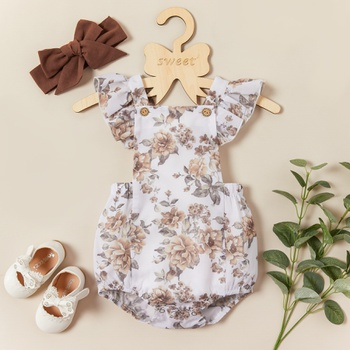 Baby Girl Floral Sleeveless Rompers