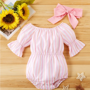 2pcs baby girl Adorable Striped Short-sleeve Pink Pretty Jumpsuit