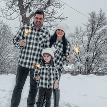 Black and White Plaid  Button Front Shirts for Family