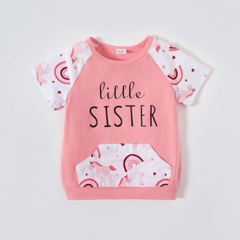 Toddler Girl casual Letter and Unicorn Rainbow Print Tee