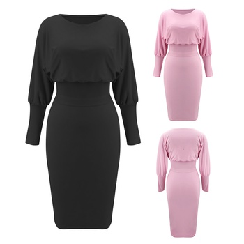 Round collar Elastic waistband Y Midi Dress