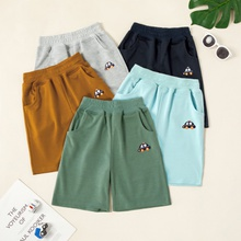Kids Boy Car Embroidered Shorts