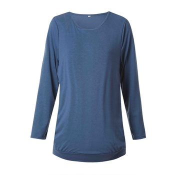 Trendy Solid Round Neck Long-sleeve Nursing Tee
