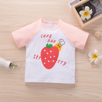 Baby Girl casual Strawberry Short-sleeve Cotton Tee