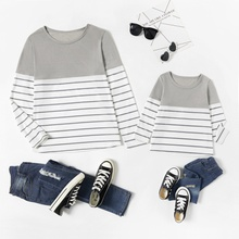 Stripe Splice Print Long Sleeve T-shirts for Mom and Me