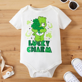 Care Bears Baby Boy/Girl  Leaf Clover St. Patrick's Day 100% Cotton Romper