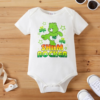 Care Bears Baby Boy/Girl St. Patrick's Day 100% Cotton Romper