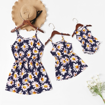 Floral Print Sling Rompers for Mommy and Me