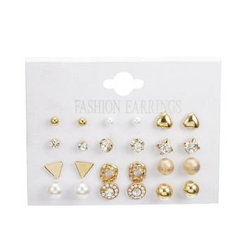 12 Pairs Plate Square Imitation Zircon Earrings Peach Heart Earring