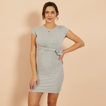 Trendy Solid Knotted Short-sleeve Maternity Dress